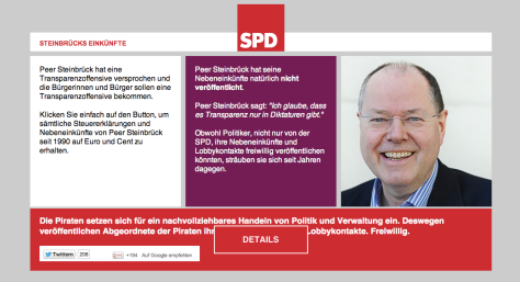 Steuereinkünfte Steinbrück